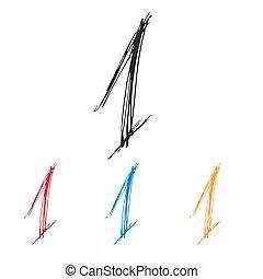 Ink drawn typography Sketchy Number 1 - Sketchy Number 1 in ...