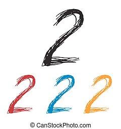 Ink drawn typography Sketchy Number 2 - Sketchy Number 2 in ...