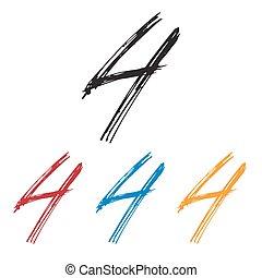 Ink drawn typography Sketchy Number 4 - Sketchy Number 4 in ...