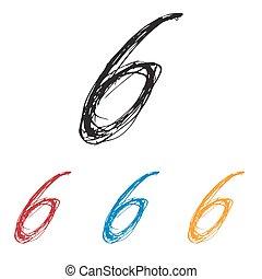 Ink drawn typography Sketchy Number 6 - Sketchy Number 6 in ...