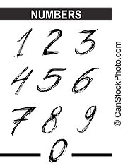 Ink drawn typography Sketchy Numbers - Sketchy Numbers in ...