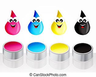 ink drops icon - Printer cartridges icon