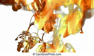 Ink Fantasy - Color ink were poured into a glass of water on...