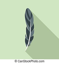Ink feather icon, flat style