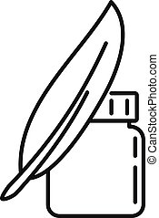 Ink feather jar icon, outline style