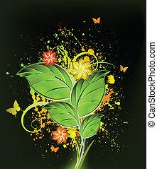 Ink floral background. Vector