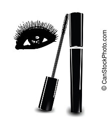 Ink for eyelashes and eye. Vector illustration