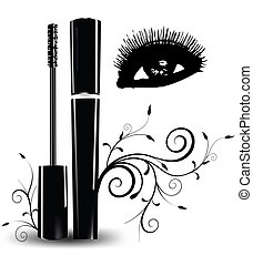 Ink for eyelashes with ornament and eyes. Vector illustration