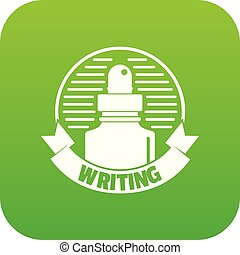 Ink for pen icon green vector