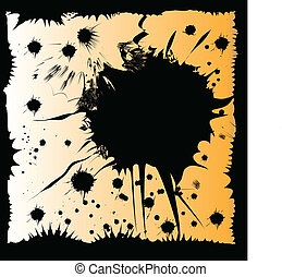 Ink grunge splat framed vector