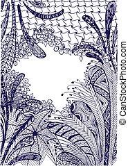 ink hand drawn zentangle frame