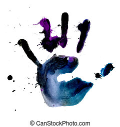 Ink print of human hand with blobs and splashes