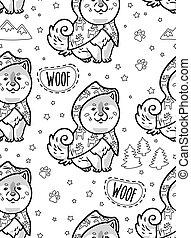 Ink husky puppies in raincoats vector endless background