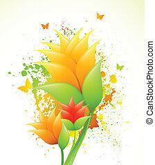 Ink illustration with orange flowers. Vector