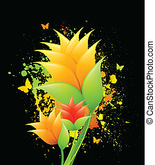 Ink illustration with orange flowers. Vector