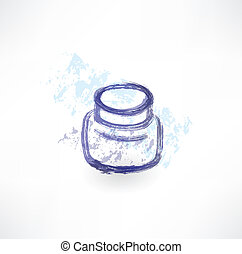 Ink jar grunge icon