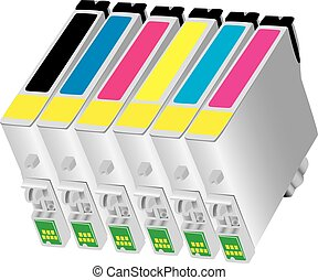 Ink-jet cartridge for bubble-jet of - Six colors ink-jet ...