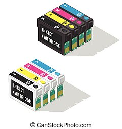 Ink jet cartridges isometric icon vector graphic ...