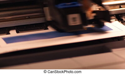 Ink-jet printer at work, close-up