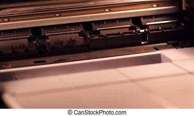 Ink-jet printer at work, time-lapse