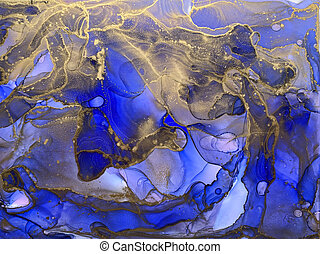 Ink, paint, abstract. Blue and gold abstract painting background. Alcohol ink modern abstract painting, modern contemporary art.