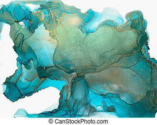 Ink, paint, abstract. Green, blue gold abstract painting background. Alcohol ink modern abstract painting, modern contemporary art.