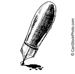 Ink pen cartoon vector illustration