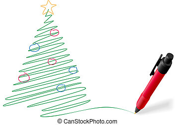 A ball point pen drawing or writing a greeting of Merry Christmas tree decorations in green ink on white copyspace.