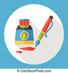 ink pen flat icon