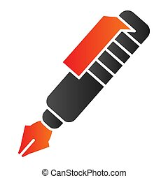 Ink pen flat icon. Vintage fountain pen symbol, gradient style pictogram on white background. Office or stationery item sign for mobile concept and web design. Vector graphics.