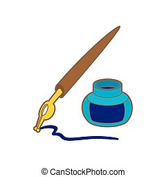 Ink pen icon in cartoon style