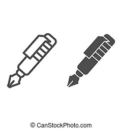 Ink pen line and solid icon. Vintage fountain pen symbol, outline style pictogram on white background. Office or stationery item sign for mobile concept and web design. Vector graphics.