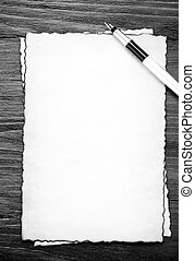 ink pen on parchment background