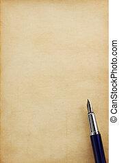 ink pen on parchment