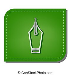 Ink Pen sign. Silver gradient line icon with dark green shadow at ecological patched green leaf. Illustration.