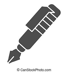 Ink pen solid icon. Vintage fountain pen symbol, glyph style pictogram on white background. Office or stationery item sign for mobile concept and web design. Vector graphics.