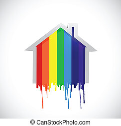 ink rainbow drop home illustration design