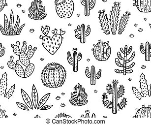 Ink seamless pattern with cactuses