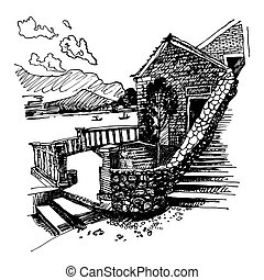 ink sketch drawing of ancient fort in Petrovac Montenegro