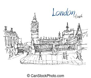 ink sketch drawing of famous place in London with hand lettering