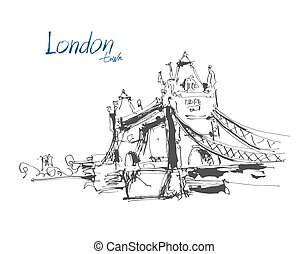 ink sketch drawing of famous place Tower Bridge in London with h