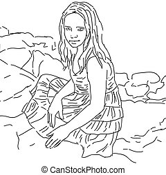 Ink sketch, lovely cute teen-girl. Vector illustration on white background.