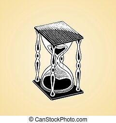Ink Sketch of an Hourglass with White Fill