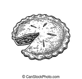 Ink sketch of apple pie - Apple pie. Ink sketch isolated on ...
