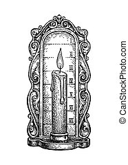 Ink sketch of candle clock. - Candle clock. Ink sketch ...
