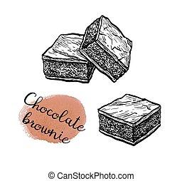 Ink sketch of chocolate brownie. - Chocolate brownie. Ink...