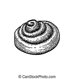 Cinnamon roll. Ink sketch isolated on white background. Hand drawn vector illustration. Retro style.