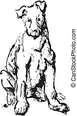 ink sketch of dog - young terrier
