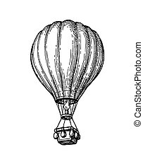 Ink sketch of hot air balloon.