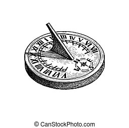 Ink sketch of sundial. - Sundial. Ink sketch isolated on ...